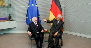 President Micahel D Higgins meets with the president of the Bundestag Wolfgang Schaüble .