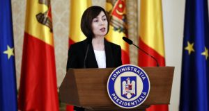 Moldova's prime minister Maia Sandu: 'We are not asking for advance payments. We are asking for support for our democratic transformation.' Photograph: Robert Ghement/EPA