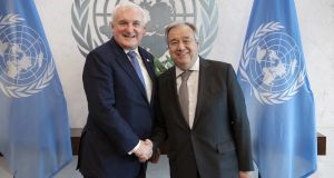 Former taoiseach Bertie Ahern spoke with UN secretary general António Guterres in New York on Wednesday. Photograph: Evan Schneider/Flickr