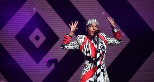 Janelle Monáe: a tailspin of choreography and energy Photograph: Leon Neal/Getty Images
