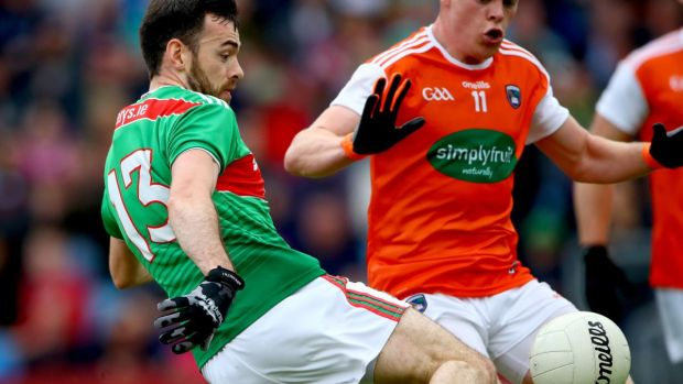 Mayo's Kevin McLoughlin scoring his side's second goal against Armagh in round three of the championship qualifiers. Photograph: James Crombie/Inpho