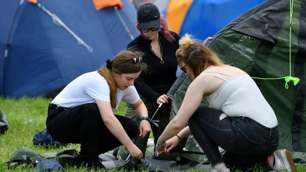 More than 99 per cent of tents at the Glastonbury Festival were taken home, co-organiser Emily Eavis said. Photograph: Neil Hall/EPA