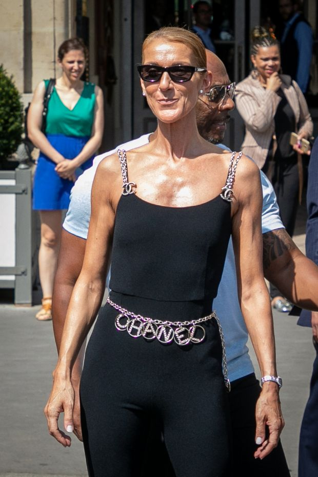 Paris Fashion Week: Celine Dion in her Chanel all-in-one. Photograph: Marc Piasecki/GC/Getty