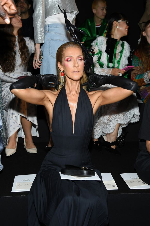 Paris Fashion Week: Celine Dion at the Schiaparelli show. Photograph: Pascal Le Segretain/Getty