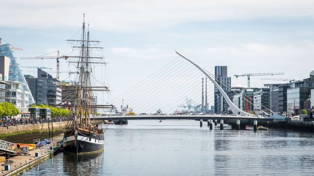 The Docklands, the Jeanie Johnston and the Samuel Beckett Bridge