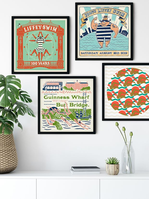 A selection of prints celebrating the Liffey swim
