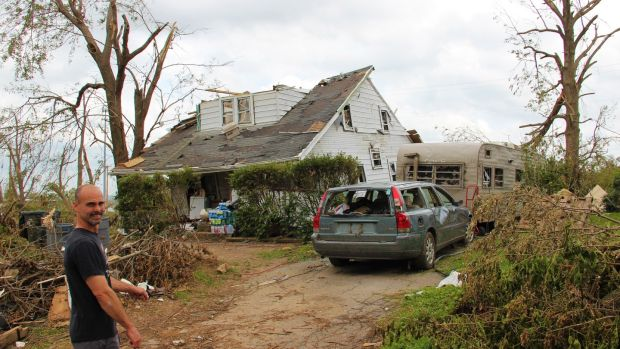 This home on Maplegrove avenue in Dayton, Ohio, was lifted clear off its foundations and moved 10m to the side during the Memorial Day tornado. Photograph: Stephen Starr