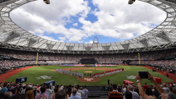 The teams stand for the national anthem during the MLB London Series game between the New York Yankees and the Boston Red Sox at London Stadium on June 30th in London, England. Photograph: Justin Setterfield/Getty Images