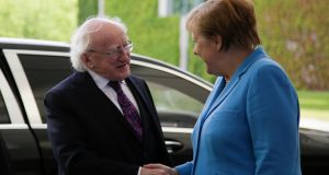 German chancellor Angela Merkel welcomes  President Michael D Higgins in Berlin. Photograph: Markus Schreiber/AP