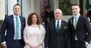 Taoiseach Leo Varadkar and his partner Matt Barrett with US vice-president Mike Pence and his sister Anne Pence Poynter at the vice-president's official residence in Washington DC in March. Photograph: Brian Lawless/PA Wire