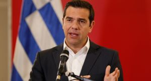 Greek prime minister Alexis Tsipras speaks during a joint news conference in Skopje, North Macedonia.