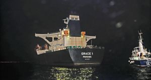 The Panama registered Grace 1 tanker after British Royal Marines from 42 Commando took part in the seizure of an Iranian oil tanker in the Gibraltar Strait. Photograph: Ministry of Defence/RAF/EPA