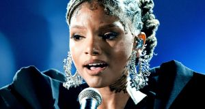 Halle Bailey of Chloe x Halle – recently cast by Disney as Ariel, the Little Mermaid. Photograph: Kevin Winter/Getty Images for The Recording Academy