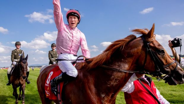 Padraig Beggy celebrates his Irish Derby success on Sovereign. Photograph: Morgan Treacy/Inpho