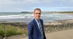 "James Nesbitt at Portrush: ""I think we're standing at a profound moment here in the history of the islands,"" he says. Photograph: Trevor McBride"