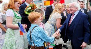 President Michael D Higgins and Sabina Higgins in Würzburg on the third day of an official state visit to Germany. Photograph:  Maxwell
