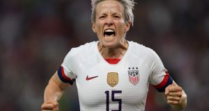 United States' forward Megan Rapinoe celebrates after scoring a goal during the Women's World Cup quarter-final fagainst France  at the Parc des Princes stadium in Paris. Photograph: Lionel Bonaventure/AFP/Getty