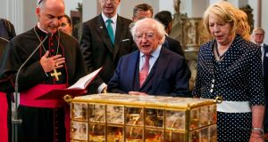President Michael D Higgins and his wife Sabina Higgins at St Kilian's Cathedral in Würzburg on the third day of the State visit to  Germany. Photograph: Maxwell's