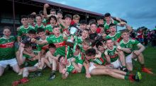 Mayo celebrate their Connacht MFC final win over Galway in Tuam. Photograph: Laszlo Geczo/Inpho