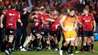 Canterburt celebrates their Super Rugby final win over the Jaguares. Photograph:  Martin Hunter/Photosport/Inpho