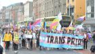 The transgender pride parade makes its way along Eden Quay in Dublin city centre. Photograph: Dara Mac Donaill/The Irish Times