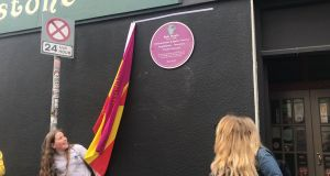 The plaque  unveiled in memory of Bob Doyle on North King Street in Smithfield, where Doyle was born. Photograph: Aoife Moore/PA Wire