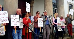 Protestors demonstrate outside the courthouse in Enniskillen, Co Fermanagh on Saturday. Photograph: Rodney Edwards