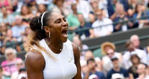 Serena Williams celebrates her straight sets victory over Germany's Julia Goerges. Photograph: Facundo Arrizabalaga/EPA