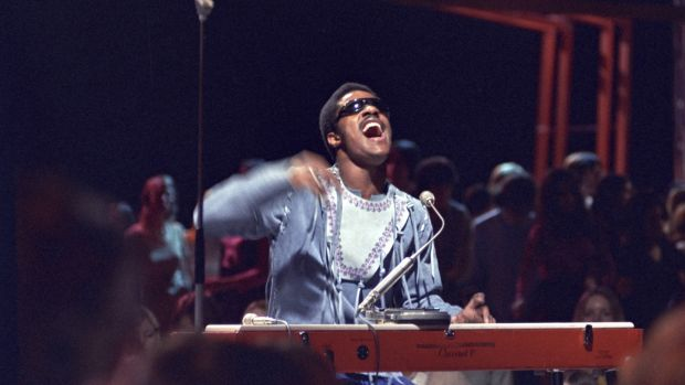 Stevie Wonder on Top of the Pops. Photograph: Ron Howard/Redferns