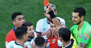 Lionel Messi is sent-off during Argentina's Copa América organisers defeat to Chile. Photograph:  Evaristo Sa/AFP/Getty