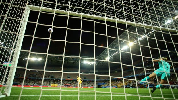 Sam Kerr misses her penalty during Australia's shootout defeat to Norway. Photograph: Richard Heathcote/Getty