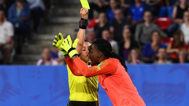 Nigeria's goalkeeper Chiamaka Nnadozie is shown a controversial yellow card after saving a penalty against France. Photograph: Franck Fife/AFP/Getty