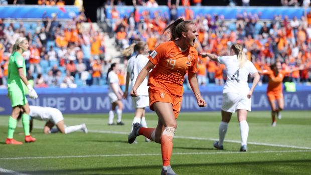 Jill Roord celebrates after scoring Holland's late winner against New Zealand. Photograph: Alex Grimm/Getty