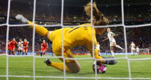 The USA's Alyssa Naeher saves Steph Houghton's penalty as her side knocked out England in the semi-finals. Photograph: Richard Heathcote/Getty