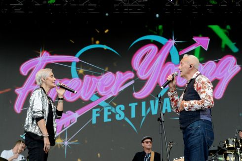 Alison Wheeler and Gaz Birtles from the South performing at  the three day Forever Young 80s Music festival, at Palmerstown House Estate, near Naas. Photograph: Alan Betson / The Irish Times
