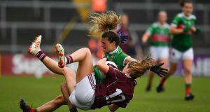 Danielle Caldwell of Mayo and Mairéad Seoighe of Galway in action during the  Connacht Ladies' SFC final replay  at the LIT Gaelic Grounds in Limerick. Photograph: Brendan Moran/Sportsfile