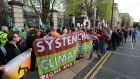 A People Before Profit climate change demonstration outside Leinster House in Dublin  earlier this year. Photograph: Crispin Rodwell