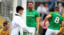 Meath's Michael Newman celebrates his side's first goal of the game. Photograph: Ryan Byrne/Inpho