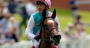 Frankie Dettori aboard Enable after winning the Coral Eclipse at Sandown Park on Saturday. Photograph: Alan Crowhurst/Getty