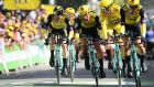 Yellow jersey holder Mike Teunissen and his Jumbo-Visma cycling team sprint to take the second stage of the Tour de France. Photograph: Anne-Christine Poujoulat/AFP/Getty