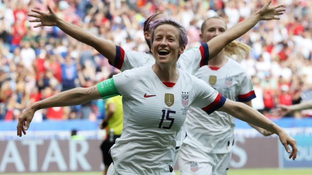 Megan Rapinoe celebrates her goal in the Women's World Cup final. Photograph: Reuters