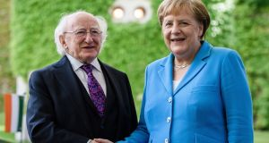 President Michael D Higgins and Chancellor Angela Merkel at the chancellery in Berlin during the President's three-day State visit last week. Photograph: Clemens Bilan/EPA