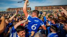 Ryan Mullaney leads the Laois celebrations at O'Moore Park, Portlaoise, after their victory over Dublin in the All-Ireland SHC preliminary quarter-final on Sunday. Photograph: Ryan Byrne/Inpho