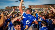 Laois' Ryan Mullaney celebrates after his team's win over Dublin. Photograph: Inpho