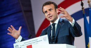French president Emmanuel Macron has condemned Iran's decision as a 'violation' of the pact. Photograph: Christophe Petit Tesson/Pool via Reuters