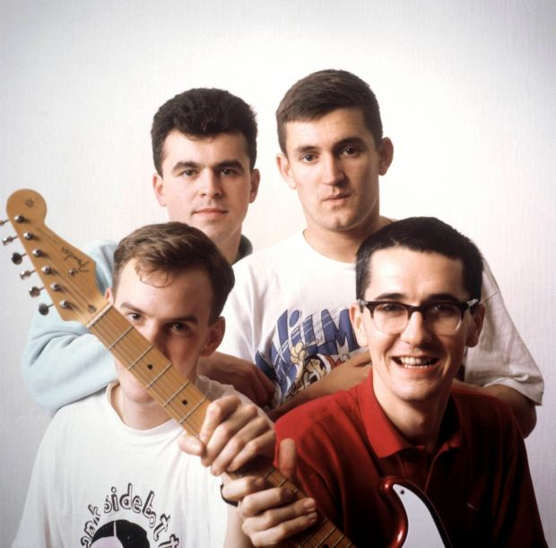 The Housemartins, including singer Paul Heaton, top right, and bassist Norman Cook, aka Fatboy Slim, bottom right. Photograph: Graham Tucker/Redferns