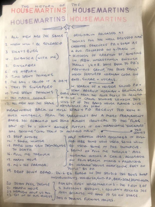 Norman Cook's liner notes to the mixtape he sent me, complete with a potted history of The Housemartins