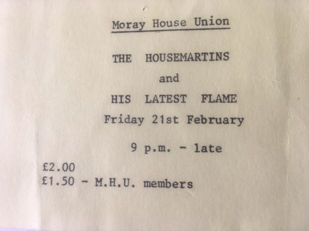 The ticket to the Housemartins gig in Edinburgh in 1996