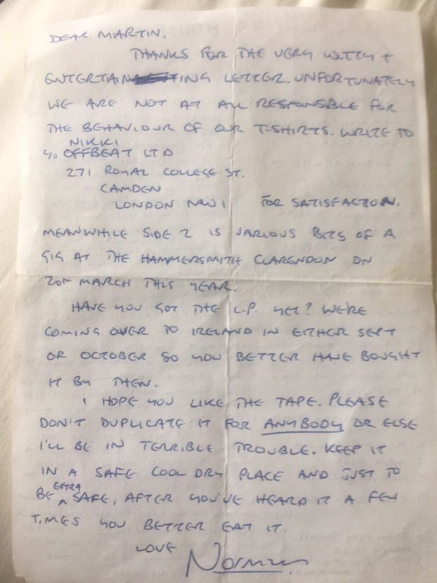Norman Cook's letter from 1996