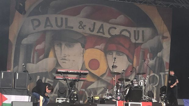 The stage backdrop to the Paul Heaton & Jacqui Abbott gig at Trinity College Dublin. Photograph: Martin Doyle